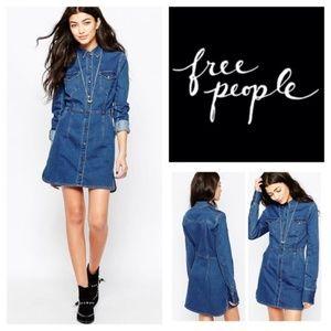 Free People Dynomite Denim Dress Snap button front